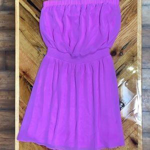 Express neon strapless dress